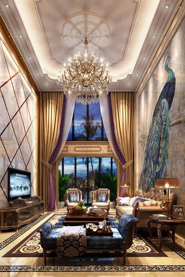 别墅豪华大气客厅奢华欧式装修效果图
