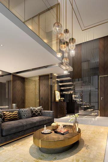现代轻奢复式客厅客居装修效果图