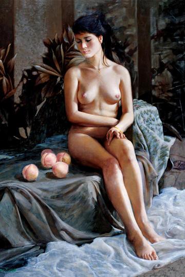 中国人体艺术坐势油画图片