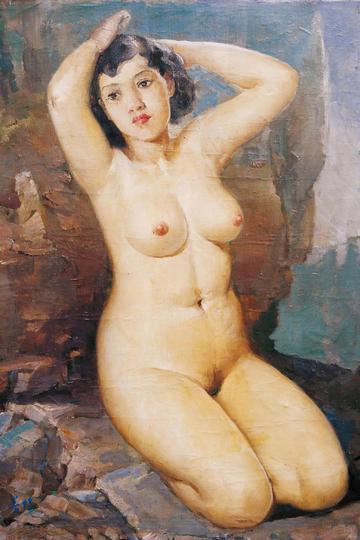 丰满中国美女裸体艺术人体油画作品图片