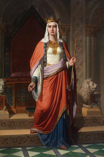 欧洲宫廷手拿权杖的女王女皇人物油画作品图片