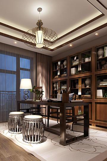 实木新中式书房装修效果图