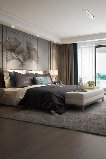时尚高级灰色调卧室现代风格装修效果图