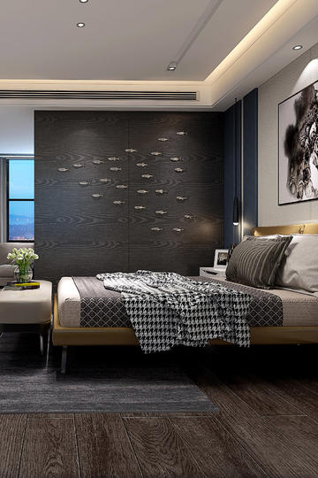 高级灰现代简约卧室装修效果图